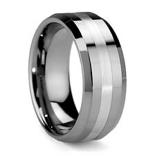 New Mens Solid 8mm Brushed Stripe Tungsten Carbide Ring Jewellery Gift Boxed