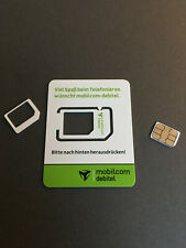 Mobilcom debitel Prepaid Simkarte mit 0160 Vorwahl Telekom T-Mobile D1 Netz