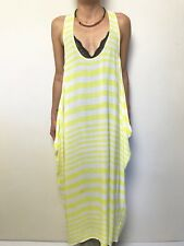 FAB WITCHERY YELLOW WHITE STRIPE  SLEEVELESS SUMMER DRESS SZ MEDIUM