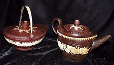 2 - 1780-1800 Neale & Wilson Jasperware Pottery Teapot & Covered Handled Bowl