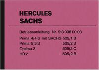 Hercules Prima 4 4S 5 5S Optima 3 HR 2 HR2 505 B C Bedienungsanleitung Handbuch
