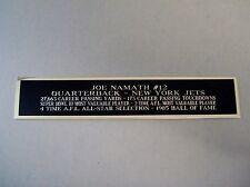 Joe Namath Jets Engraved Nameplate For A Football Mini Helmet Case 1.5 X 6