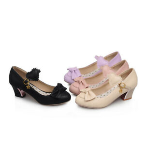 Womens Bowknot Sweet Girls Mary Jane Shoes Chunky Heel Buckle Lolita Court Shoes
