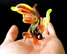 "MURANO ITALY STYLE 2.75"" orange ART GLASS aquarium figurine GOLDFISH FISH A"