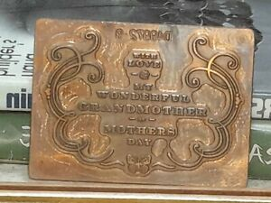 Solid Copper Printing Block Plate Card Printing Motherday