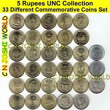 Very Rare 33 Different Types of 5 Rupees Commemorative Five Rupees UNC Coin Set