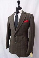 Men's Bespoke Tailored Green Striped Vintage Tweed Suit 38R W32 L29 CC5198