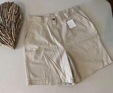 LL Bean Womens Khaki Original Fit Shorts Wrinkle Resistant Cotton Size 16 NWT