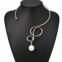 Big Collar Statement Artificial Pearl Torque Choker Necklace Alloy Women Jewelry