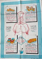Vintage 'CHEF' by MY CHOICE Verse BRITISH CAKES Recipe's 1960's Linen TEA TOWEL