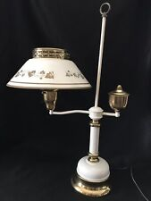 Vtg White & Gold Hand Painted Tole Bedroom Reading Metal Table Lamp Light 3-way