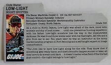 GI JOE 1986 NIGHT SPOTTER LOW LIGHT V1 ACTION FIGURE'S FILE CARD