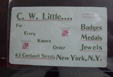 Vintage 1890s Business card CW Little Jewelry Store New York City