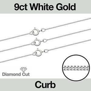 """9ct White Gold Diamond Cut Curb Jewellery Chain 16-20"""" Necklace"""