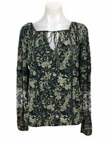 Lucky Brand Women's Blouse Green Floral Long Sleeve Keyhole Eyelet Top Shirt