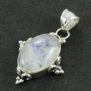 """Rainbow Moonstone Solid 925 Sterling Silver Necklace Jewelry S 1.5"""""""