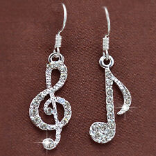 Personality-Trendy Music Notes Clear Crystal Silver Lady Dangle  Earrings HC