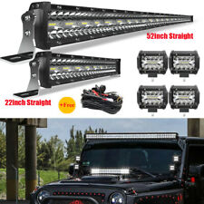 "52INCH 3000W LED Light Bar Combo+22"" 520W+4"" 60W For Jeep Wrangler JK YJ CJ LJ"