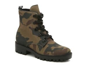KENDALL + KYLIE CAMO Waxed Canvas 5 Eye Ankle Boot Rubber Lug Outsole Wmn 11 New
