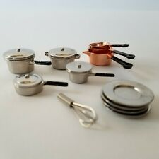 12 Dollhouse Miniature Kitchen Metal Accessories Pots Pans Plates Egg Whisk