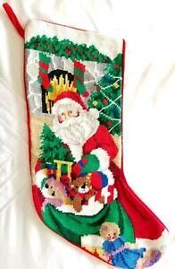 Needlepoint Petit Point Christmas Stocking Red Velvet Santa Claus Toys Wool