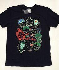 Suicide Squad Hombre Cara con Logo Camiseta Negra XXL