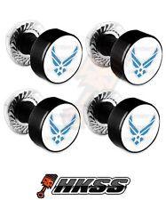 4 Black Billet Aluminum License Plate Frame Tag Bolts - USAF AIR FORCE WT XO5