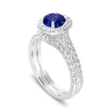 Sapphire Engagement Ring Sets 1.83 Carat 14K White Gold Certified Halo Pave