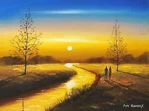 Pete Rumney Original Canvas Art Golden Sun Light Hand painted Signed Artwork NR