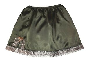 Dark Green Mini Satin Underskirt UK SIZE 6-18 Glossy Sissy Waist Slip Half Slip