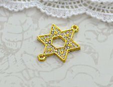 1 Rhinestone Bright Gold STAR OF DAVID Connector Charms chg0023