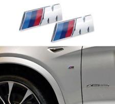 2 x 45mm  /M Sport M Power Side Wing Metal Badge Chrome BMW 1,2,3,4 5 X5