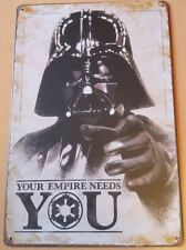 Large Metal Plaque Darth Vader Star Wars Old Retro Vintage Rougue One Story USA