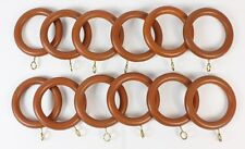 12 x Teak / Antique Pine Finish Curtain Rings for 28mm Pole NEW