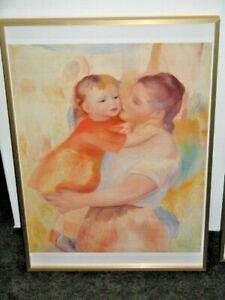 Washerwoman & Child by Pierre Auguste Renoir Framed Print Gold Rim Frame