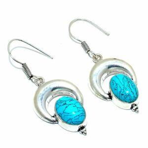 "Santa Rosa Turquoise Gemstone 925 Sterling Silver Jewelry  E-7 Earring 1"""