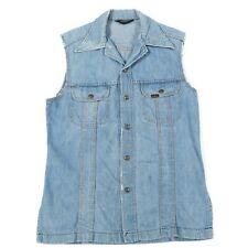 70s Vintage LEE Sleeveless Denim Dress | Retro Jean Trucker Jacket Coat