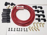 8mm Universal Cloth Covered Spark Plug Wire Kit Set Vintage Wires v6 v8 Red Bk