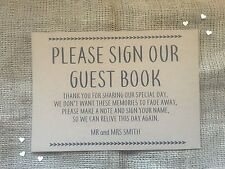 Personalised wedding guest book sign A4 brown Kraft card