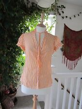 Fab Zara Basic Shirt Striped Cap Frill Sleeve Frill Collar Orange & White Size M