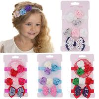 3PCS Kids Floral Headband Hair Girl baby Bowknot Accessories Hairband Set