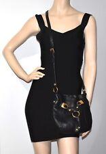 B. Makowsky Black Leather Crossbody Shoulder Bag
