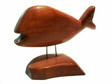 MIKE MATAS - Vintage Folk Art Whale Carving on Stand - Signed - Canada - C. 1980
