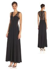 BCBG MAX AZRIA Ariel Lace-Inset Gown Crepe Evening Prom Dress darkink/red