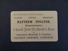 Carte de visite Visit card CDV MATTHEW POULTON London Londres Flower Fleuriste