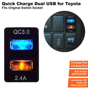 Quickcharge 5.4 amp USB Charger for Toyota Prado 150,LC200, 2016 Hilux, Fortuner