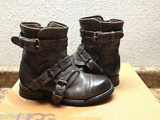 UGG COLLECTION ELISABETA ASH BIKERS BOOTS USA 5.5 / EU 36.5 / UK 4