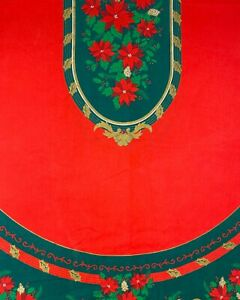 Vintage Tablecloth Christmas Poinsettia/Holly Berries Red Green Gold Oval 83x60