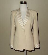 Christian Dior Womens Tan/Off White Blazer Jacket Size 2P