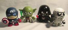 Mighty Muggs Lot of 4 Star Wars Yoda Darth Vader Stormtrooper & Capt. America
